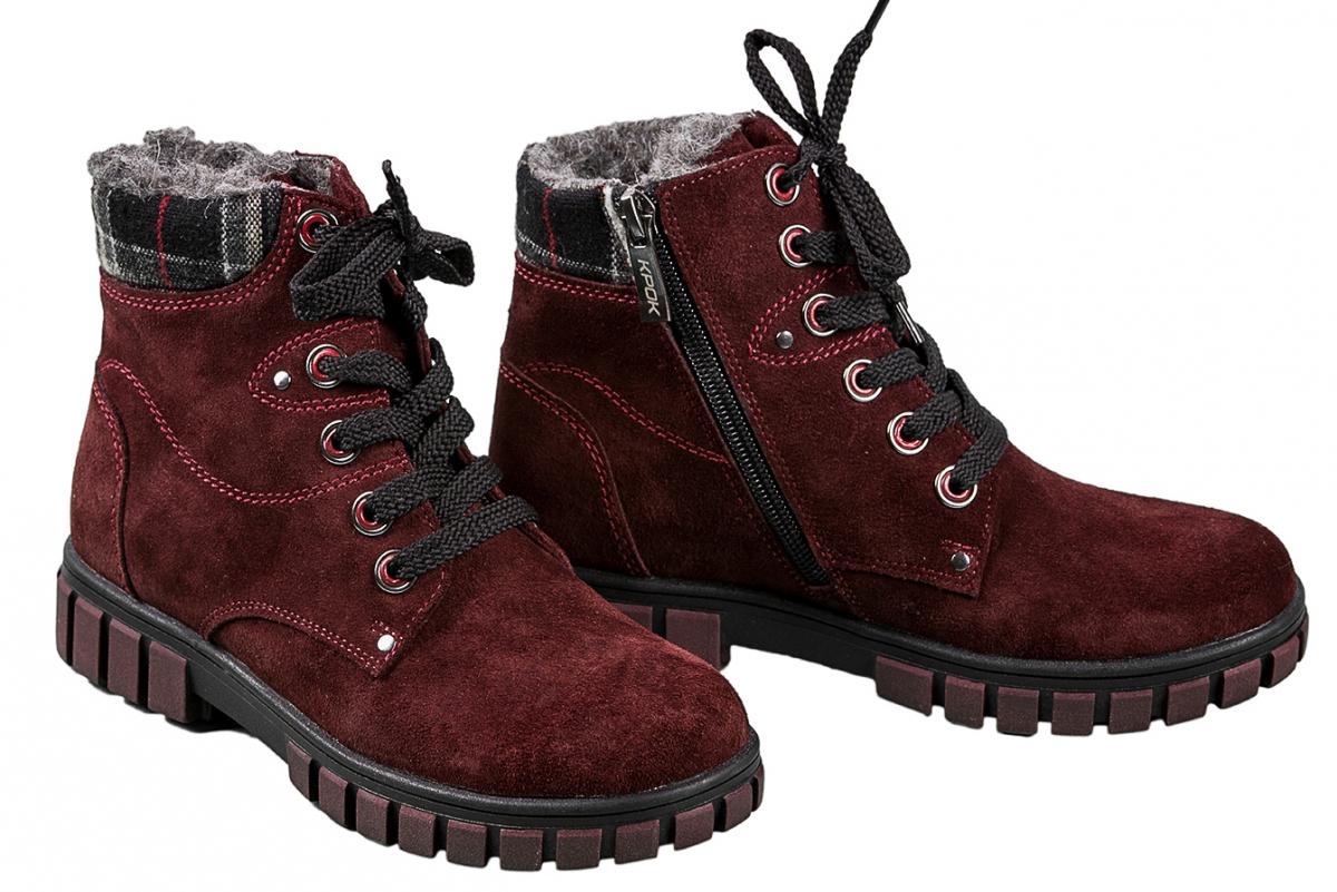 392e308b Купить Ботинки 58_Ківі | Цвет: бордо | Материал: замша натуральная | Ботинки  детские | Ботинки - Интернет-магазин leomoda.ua